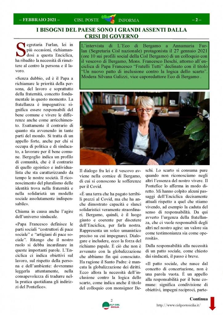 Cisl Poste Sicilia Informa Febbraio 2021_Pagina_02