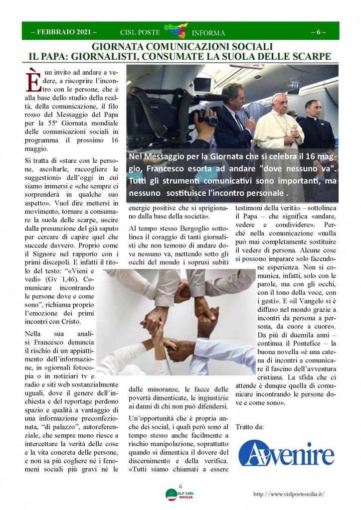 Cisl Poste Sicilia Informa Febbraio 2021_Pagina_06