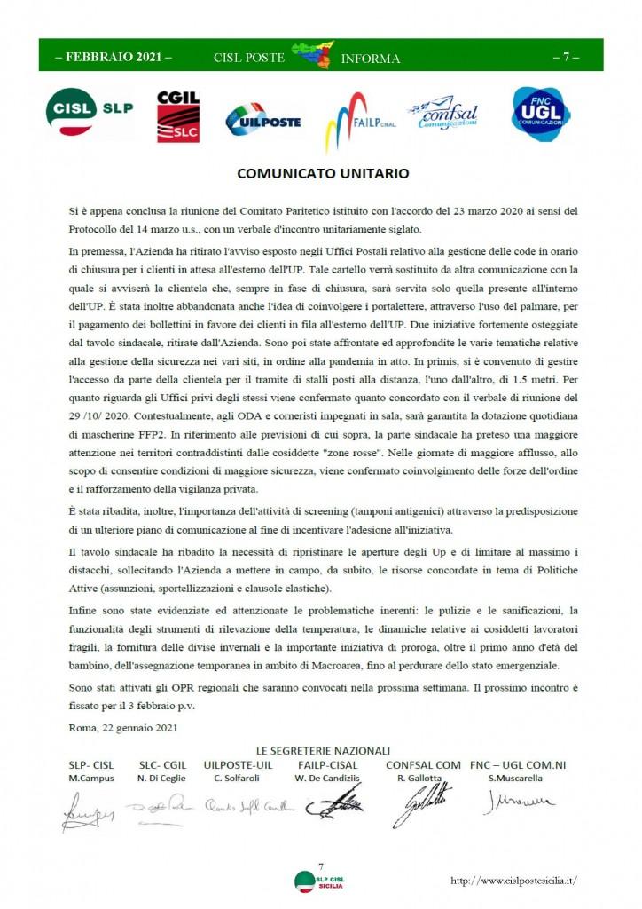 Cisl Poste Sicilia Informa Febbraio 2021_Pagina_07