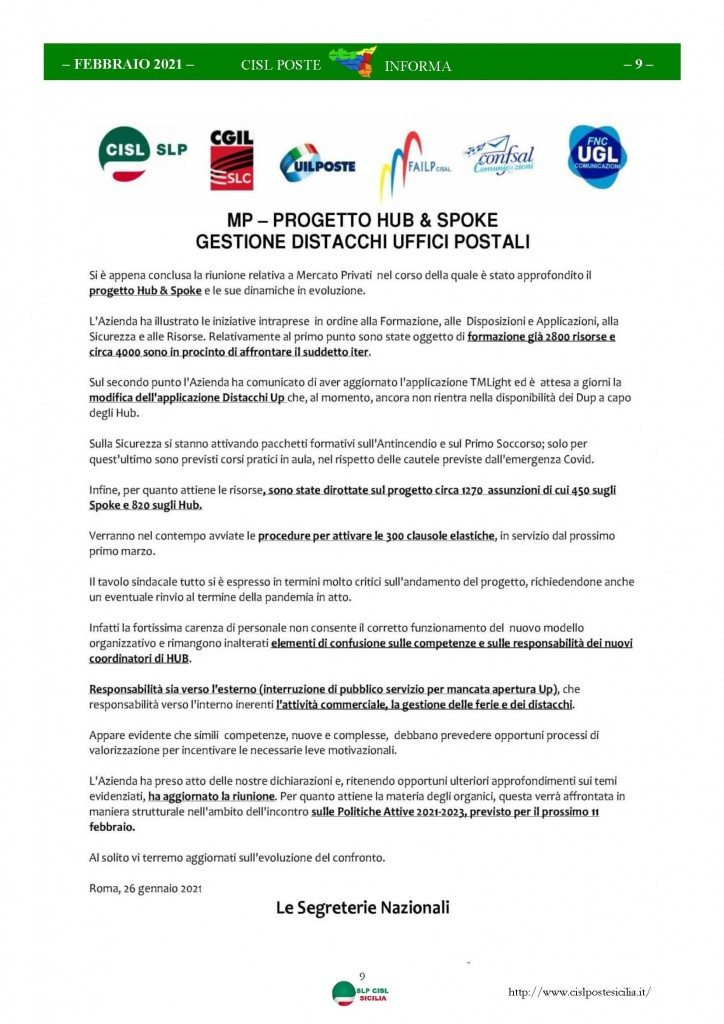 Cisl Poste Sicilia Informa Febbraio 2021_Pagina_09