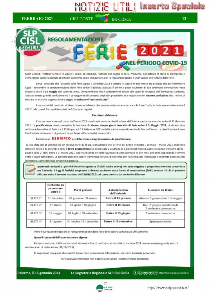 Cisl Poste Sicilia Informa Febbraio 2021_Pagina_12