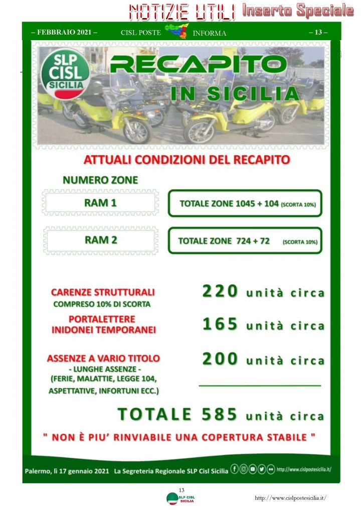 Cisl Poste Sicilia Informa Febbraio 2021_Pagina_13