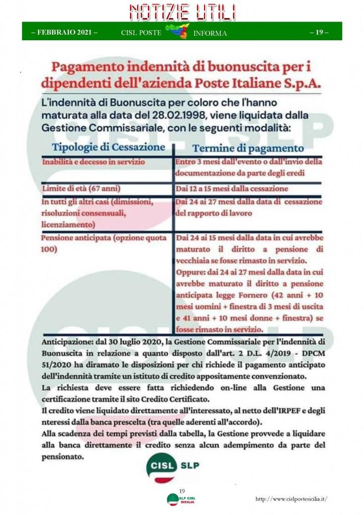 Cisl Poste Sicilia Informa Febbraio 2021_Pagina_19