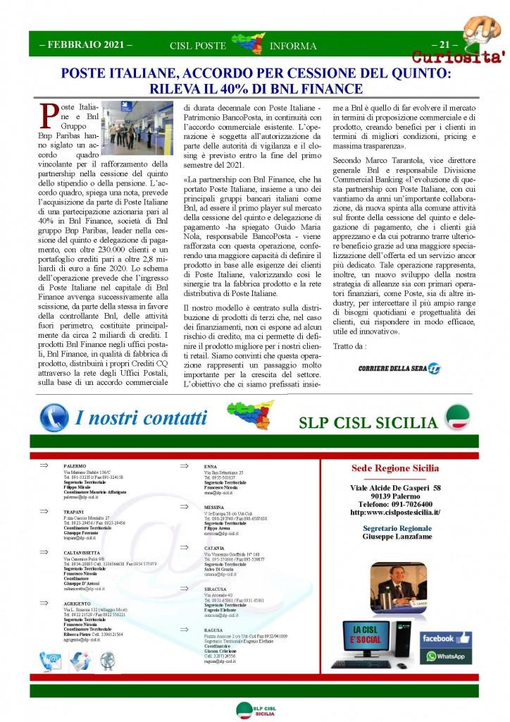 Cisl Poste Sicilia Informa Febbraio 2021_Pagina_21