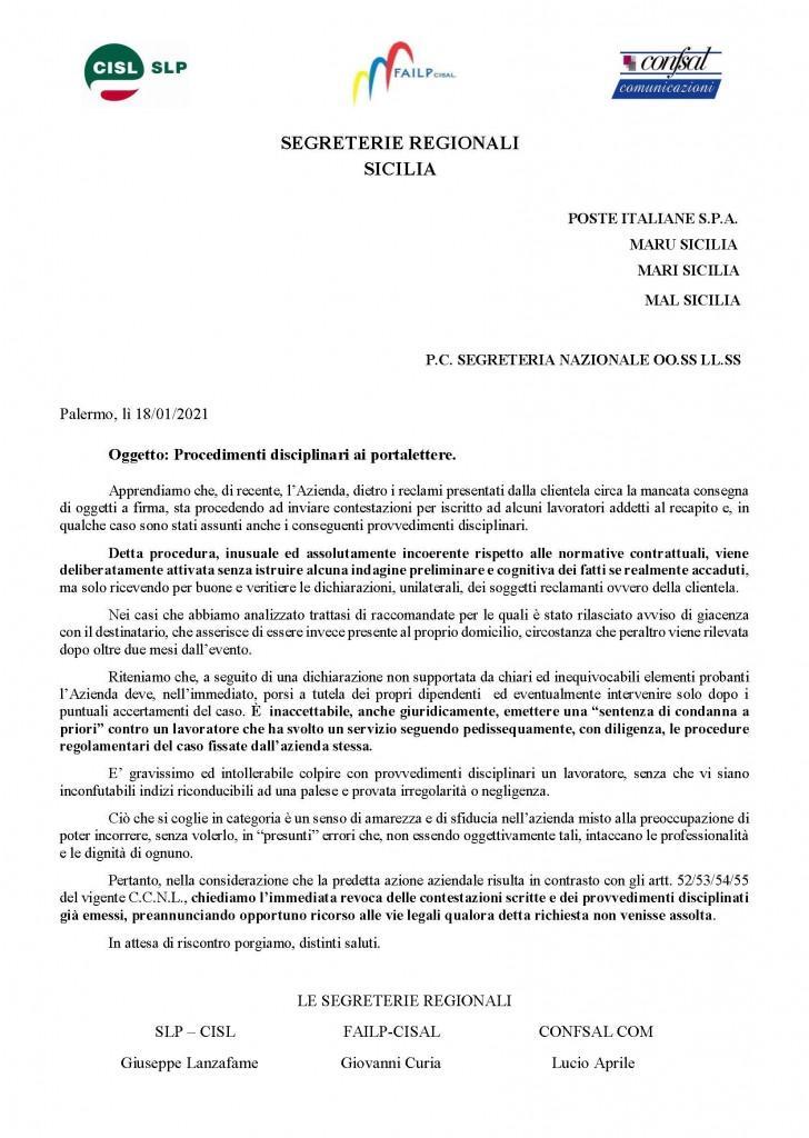 Procedimenti disciplinari ai portalettere gen2021