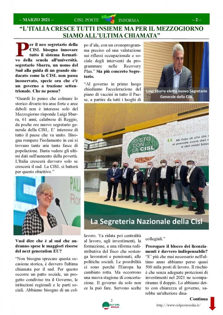 Cisl Poste Sicilia Informa Marzo 2021_Pagina_02