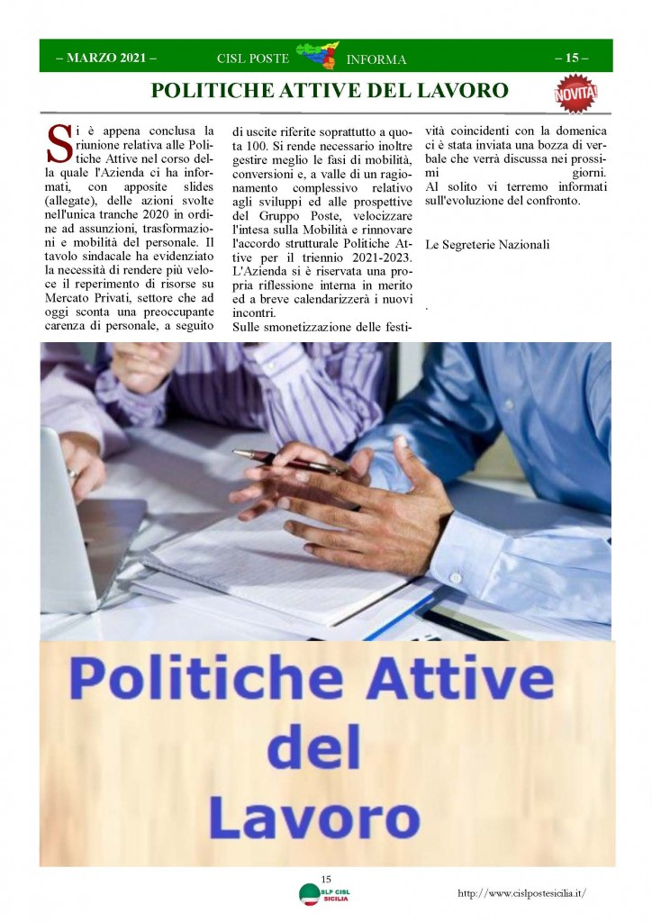Cisl Poste Sicilia Informa Marzo 2021_Pagina_15