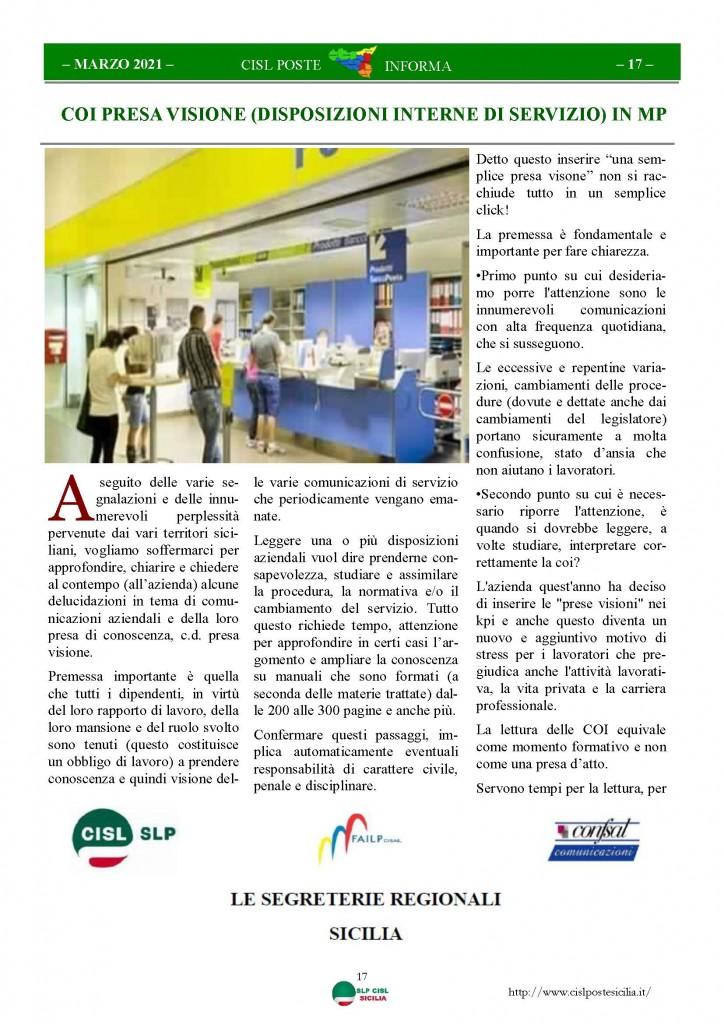 Cisl Poste Sicilia Informa Marzo 2021_Pagina_17