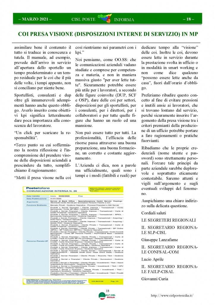 Cisl Poste Sicilia Informa Marzo 2021_Pagina_18