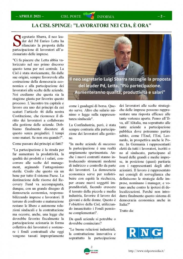 Cisl Poste Sicilia Informa Aprile 2021_Pagina_02