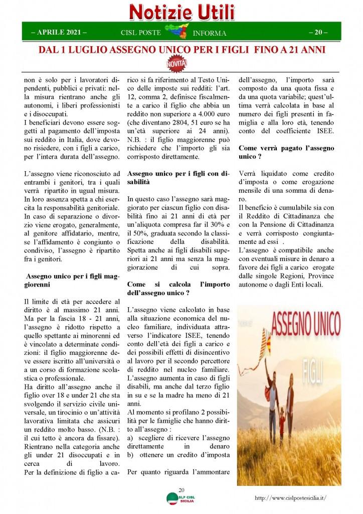 Cisl Poste Sicilia Informa Aprile 2021_Pagina_20